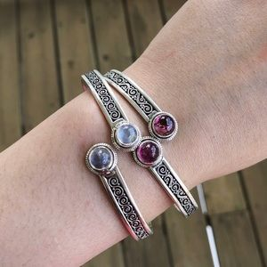Jewelry - Sterling silver moonstone and tourmaline bracelet